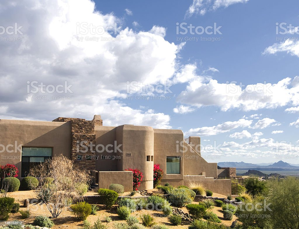 Beautiful Southwestern adobe style home stock photo