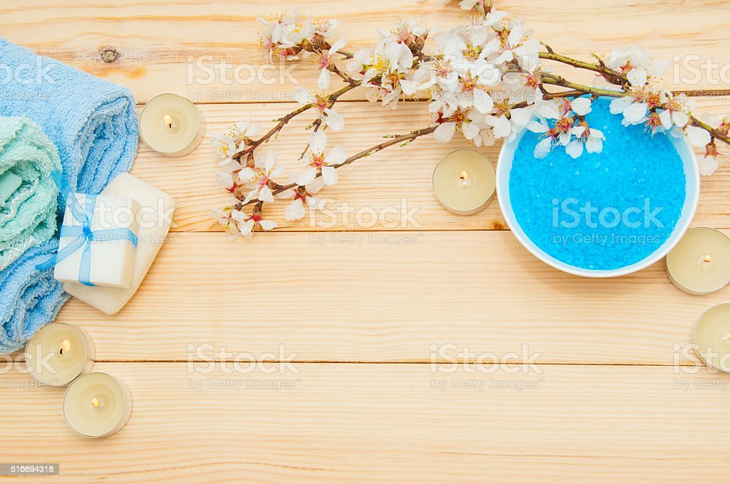 Beautiful spa composition with spring flowers on table close up stock photo