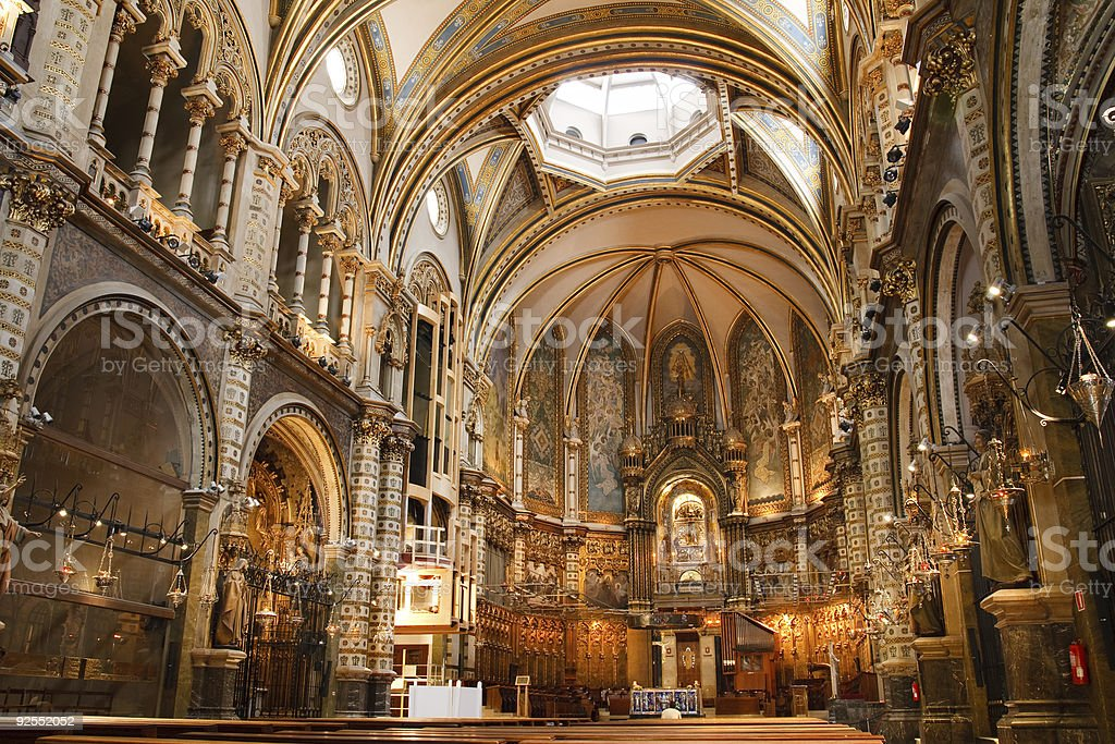 Beautiful Spanish Basilica at the Montserrat Monastery stock photo