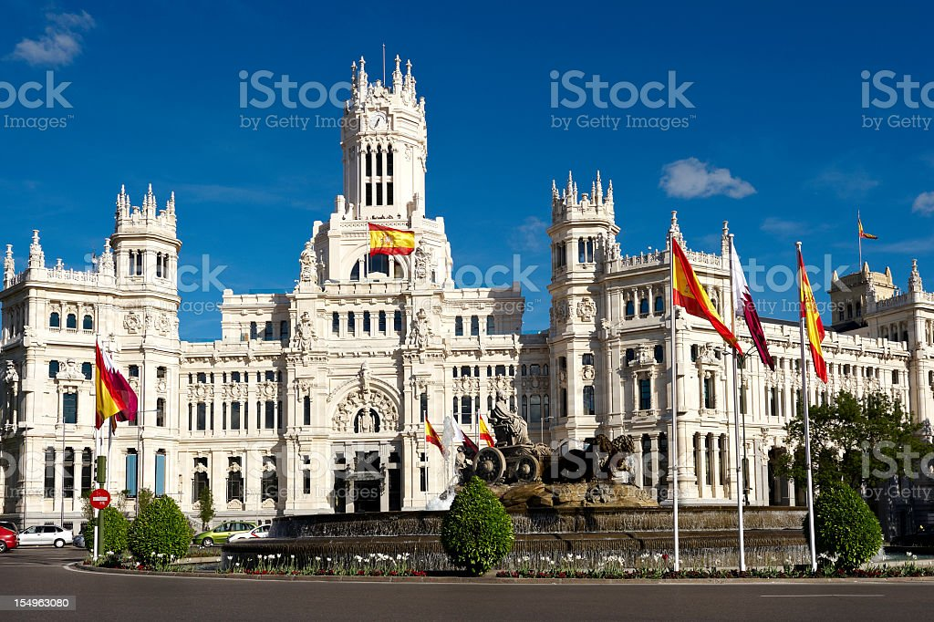 A beautiful Spanish building in Madrid royalty-free stock photo
