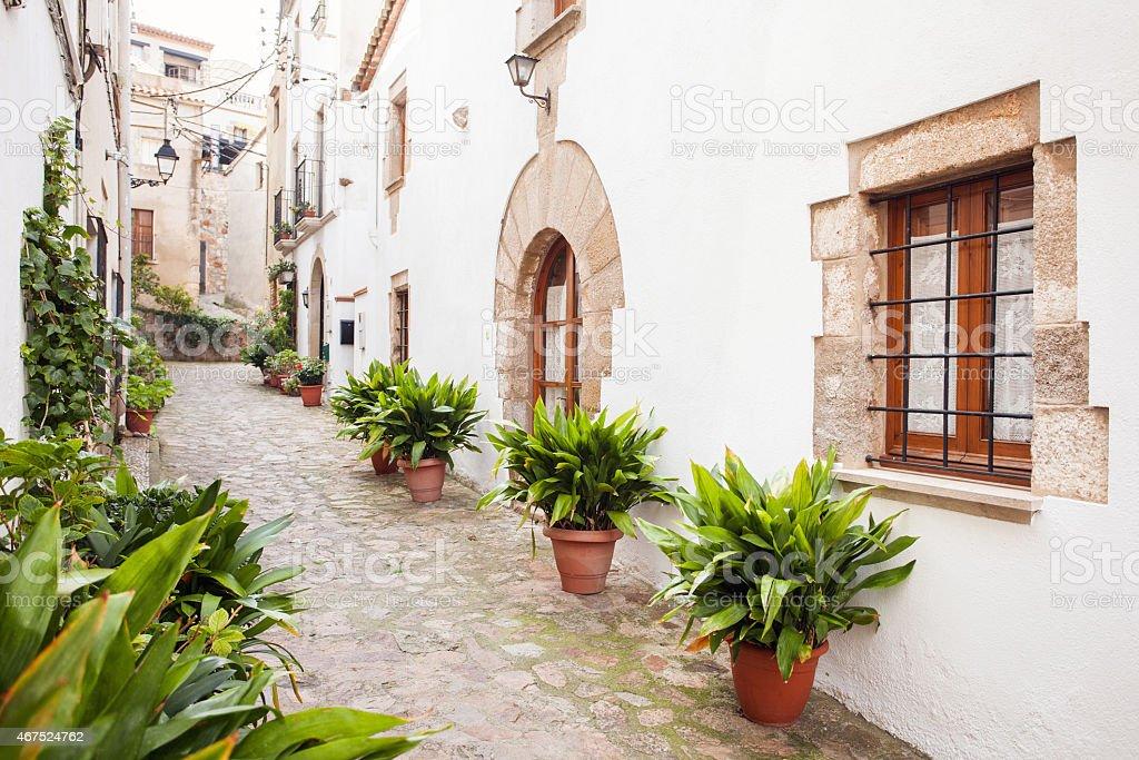 Beautiful spanish street stock photo