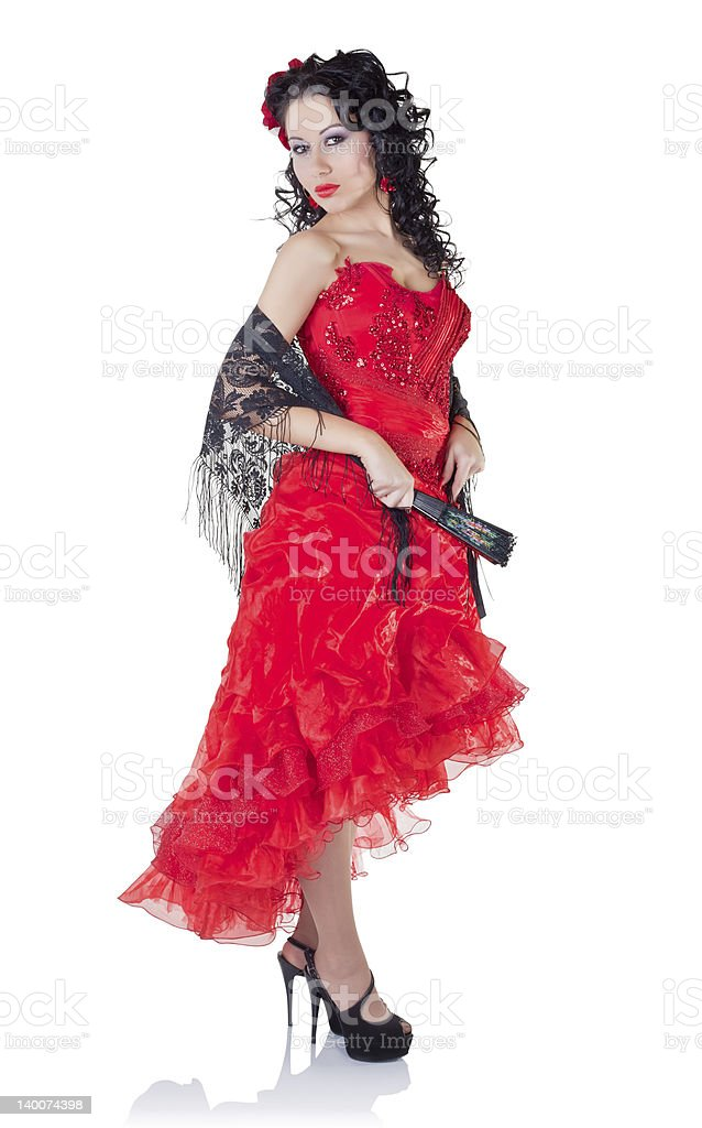 Beautiful Spanish woman in a red dress royalty-free stock photo