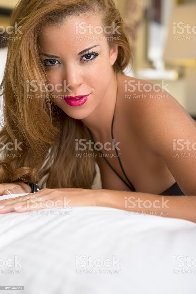 Beautiful spanish woman in black lingerie royalty-free stock photo