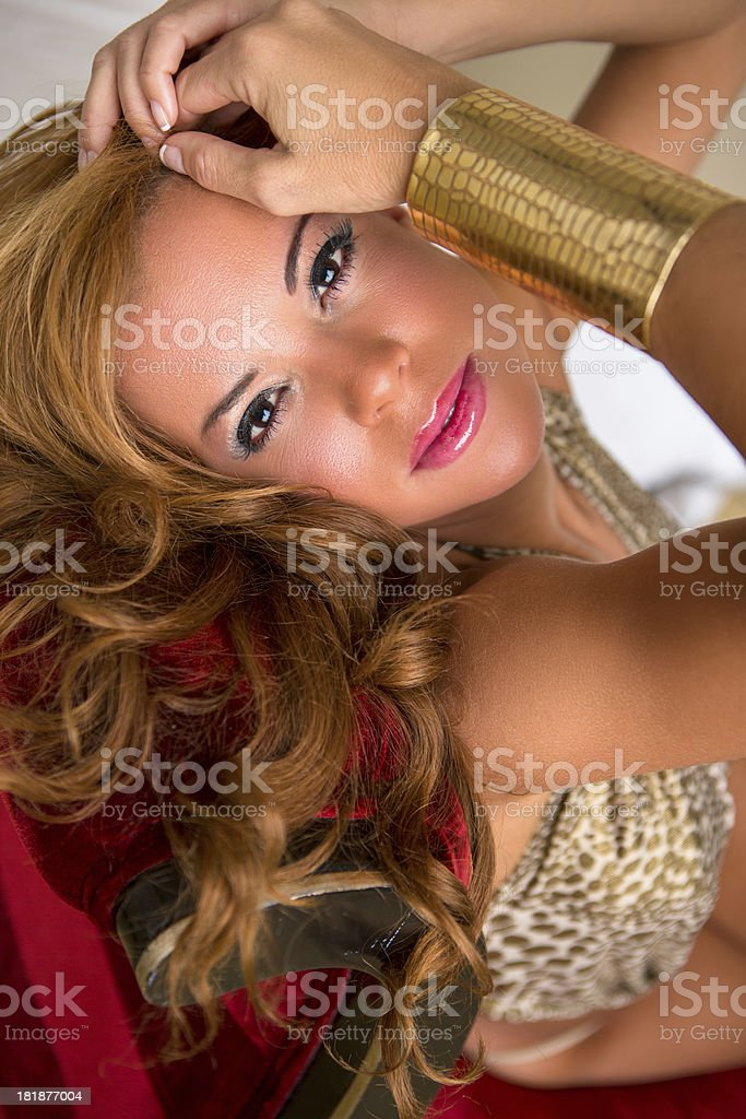 Beautiful spanish woman in lingerie royalty-free stock photo