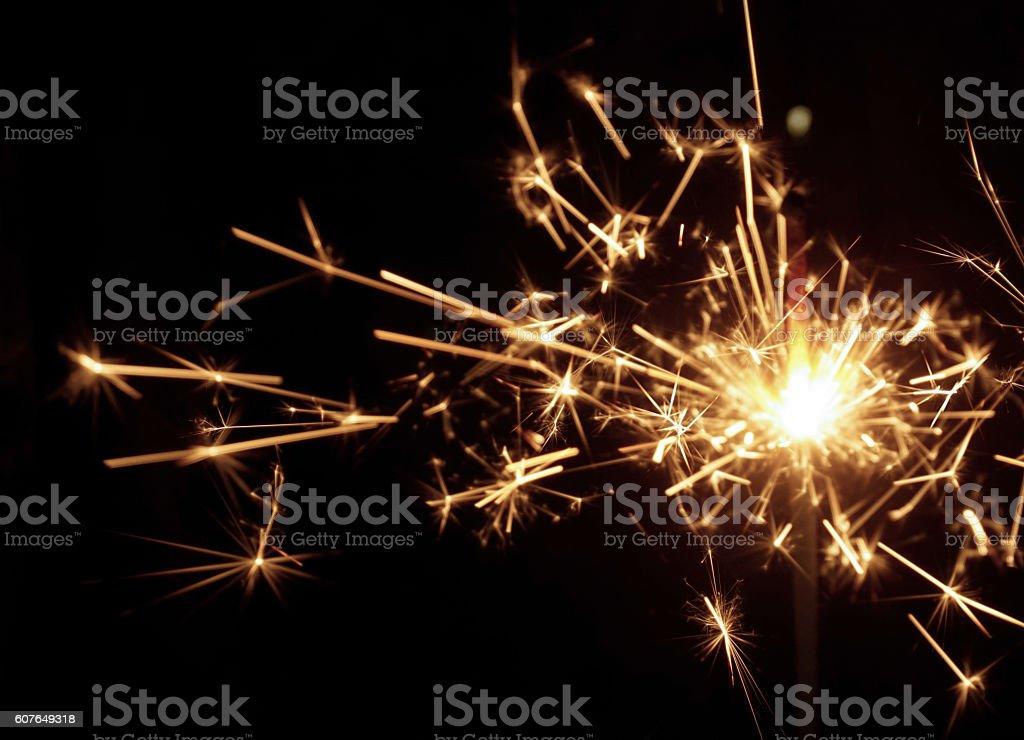 beautiful sparkler on black background stock photo