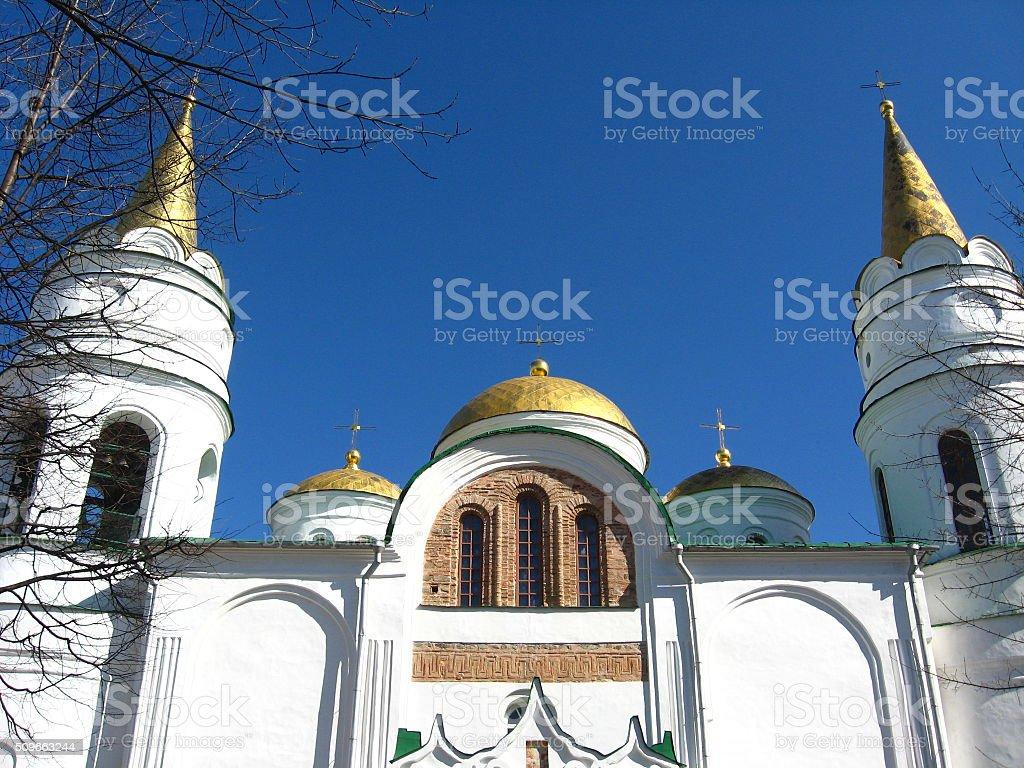 Beautiful Spaso-Preobrazhensky cathedral and blue sky stock photo