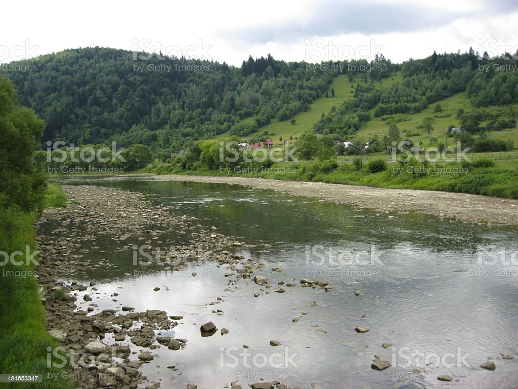 beautiful speed mountainous river stock photo
