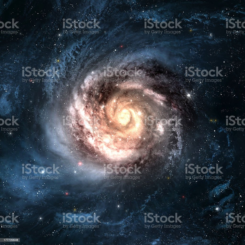 Beautiful spiral galaxy and shining stars in space stock photo
