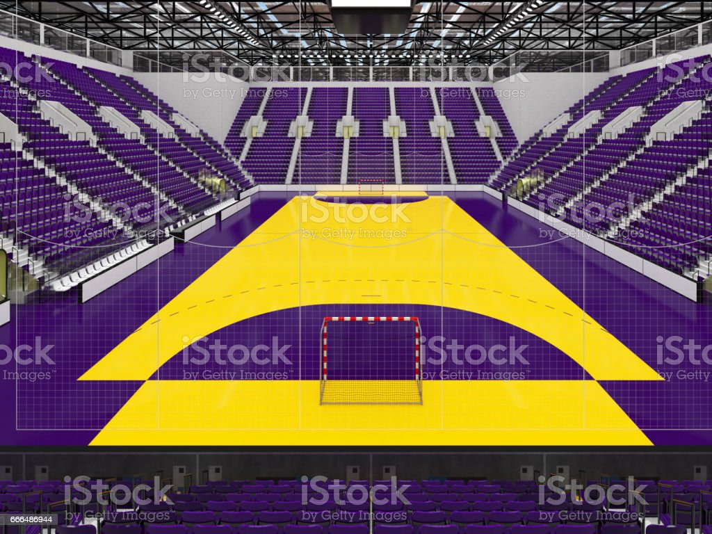 3D render of beautiful sports arena for handball with floodlights and...