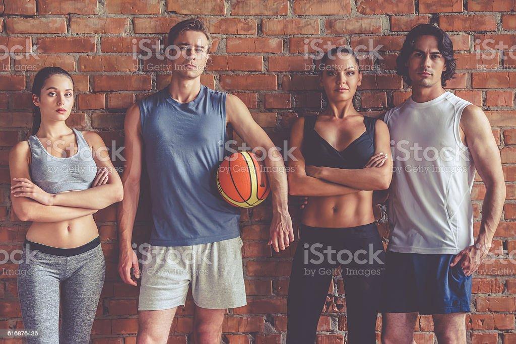 Beautiful sports team stock photo