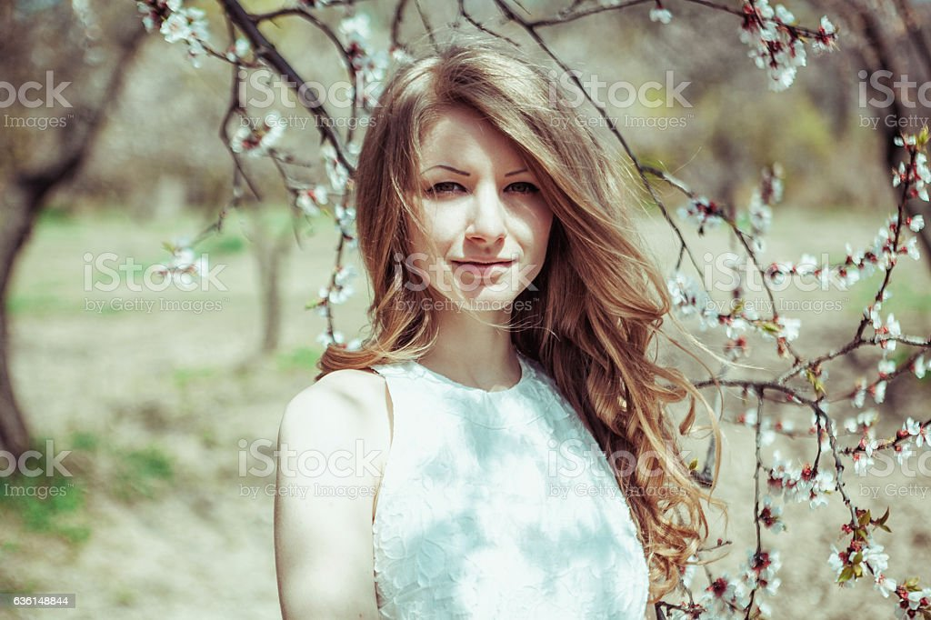 Beautiful spring blond girl in blooming tree stock photo