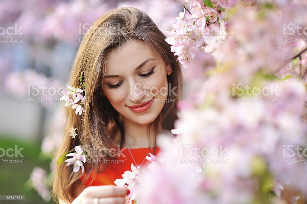 Beautiful Spring Girl with flowers stock photo