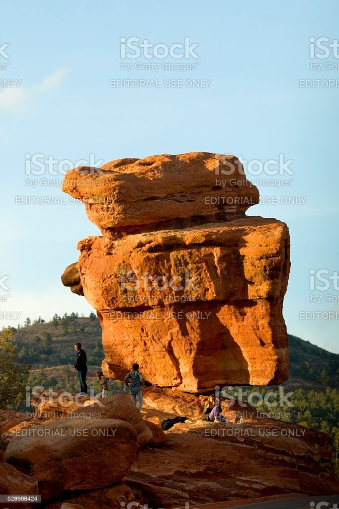 Beautiful Springtime Light on Balanced Rock stock photo