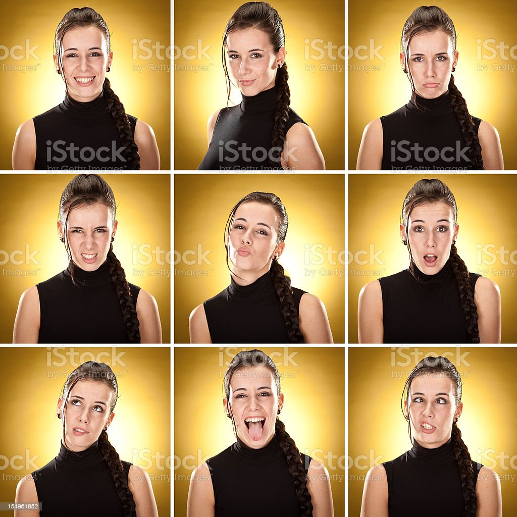 beautiful spy girl with tress expression set squared on yellow stock photo