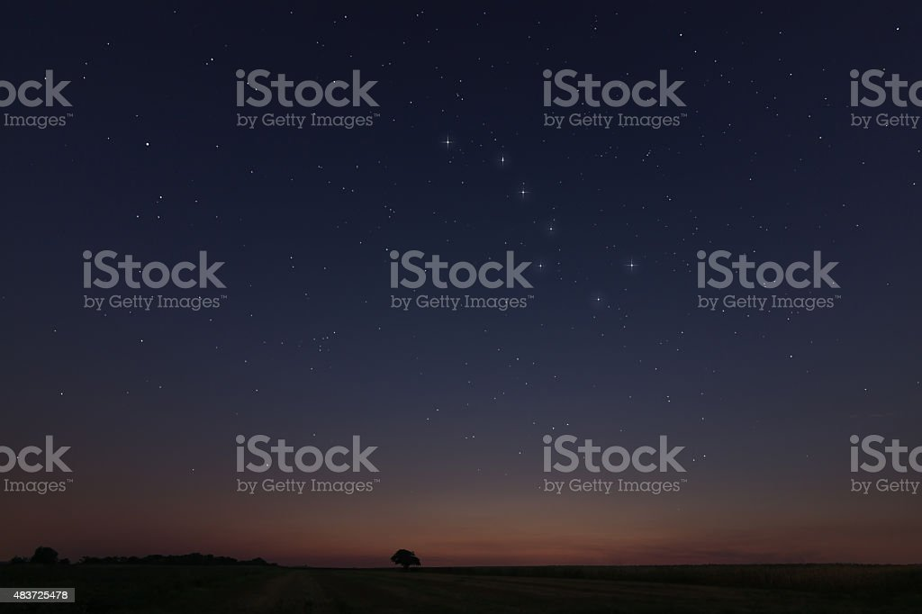 Beautiful Star Field at sunset with Constellations Big Dipper stock photo