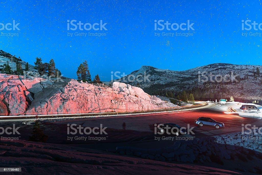Beautiful stars over Yosemite stock photo