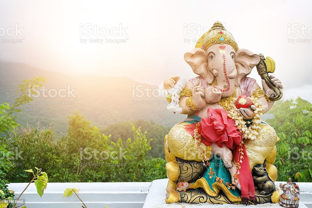 beautiful statue of Ganesh On the background landscape stock photo