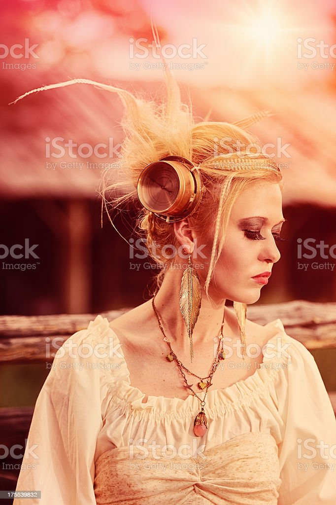 Beautiful Steampunk Woman With Meter In Funky Hair stock photo