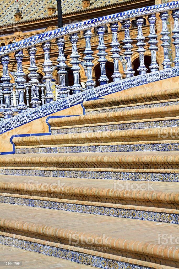 Beautiful steps of bridge Plaza de Espa?a in Sevilla royalty-free stock photo