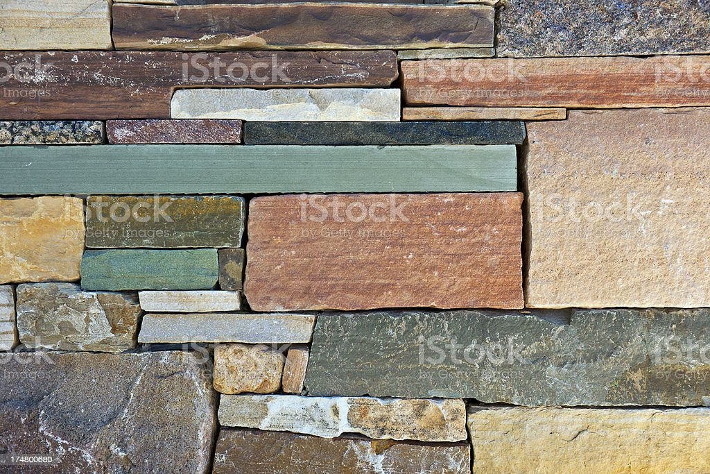 Beautiful Stone Wall in Santa Fe New Mexico USA stock photo