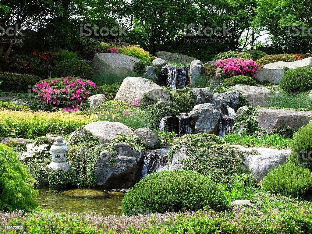 Beautiful stonegarden with waterfalls stock photo