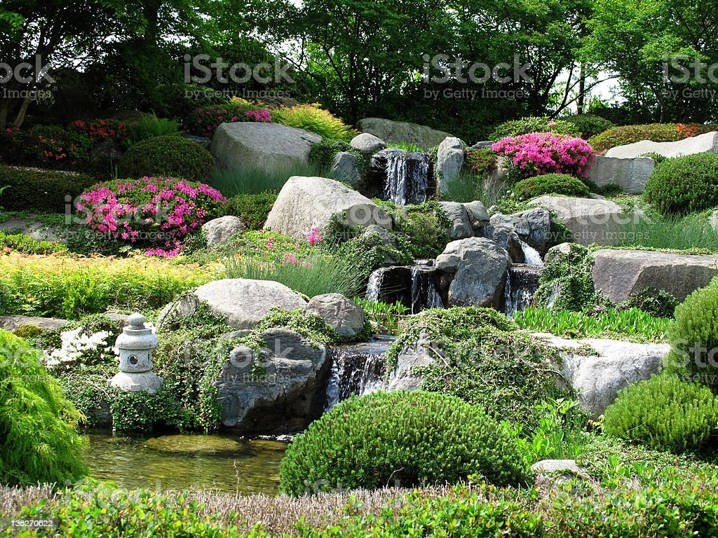 Beautiful stonegarden with waterfalls stock photo