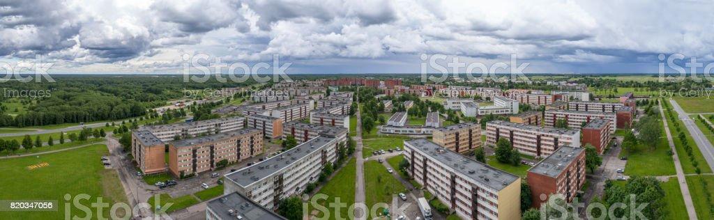 A beautiful stormy sky before rain. Aerial photography. Panorama. stock photo