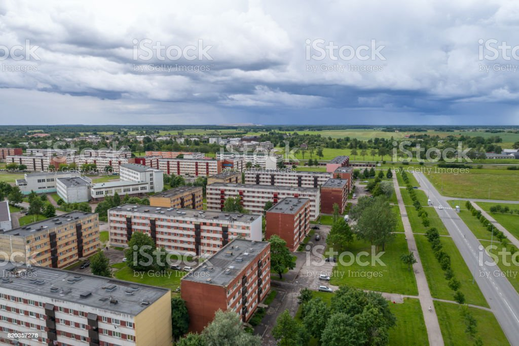 A beautiful stormy sky before rain.  Aerial photography. stock photo