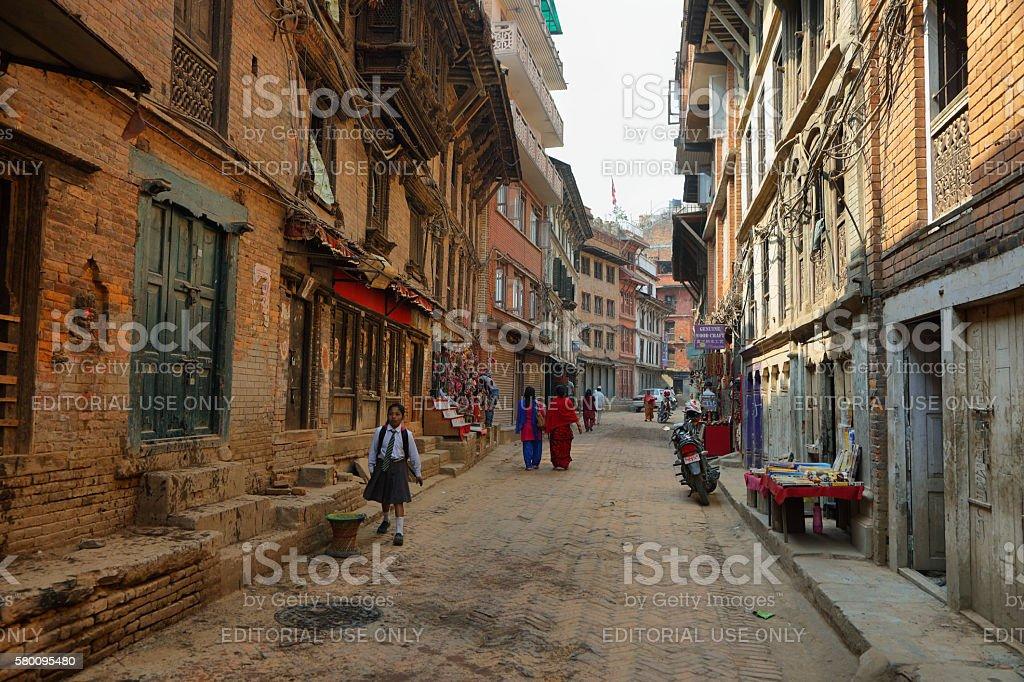Beautiful street in Bhaktapur town, Nepal stock photo
