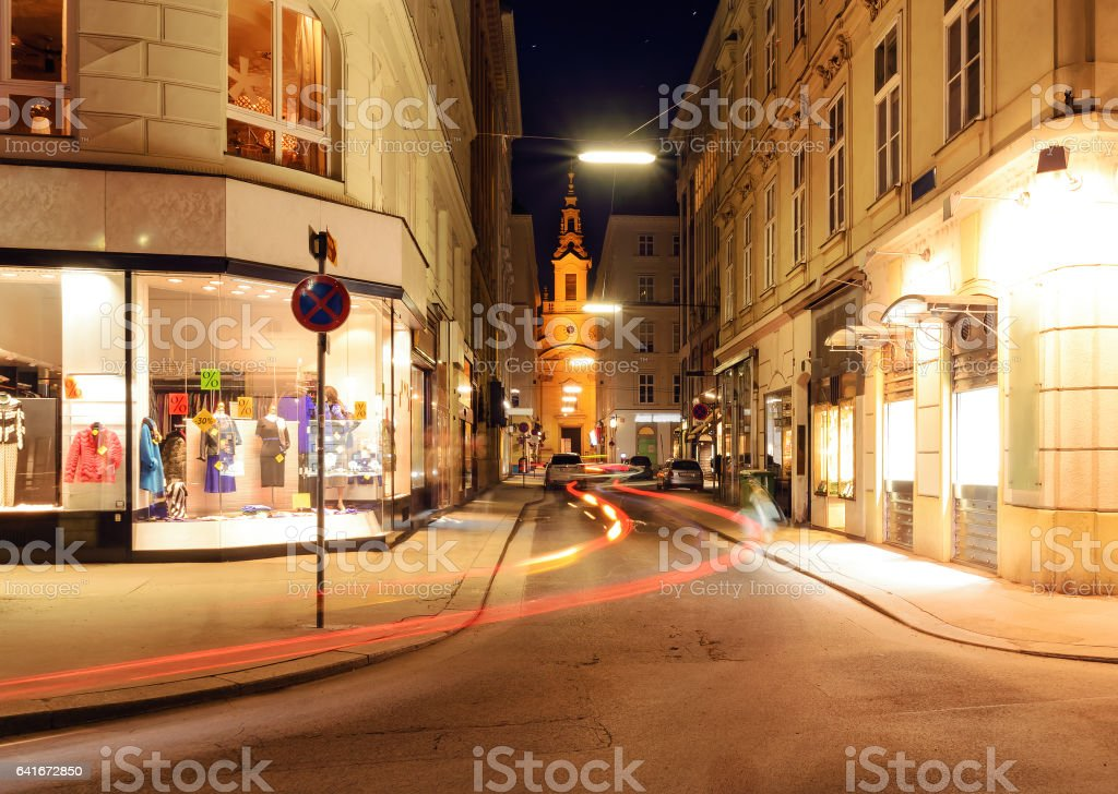 Beautiful street in central part of Vienna, Austria stock photo