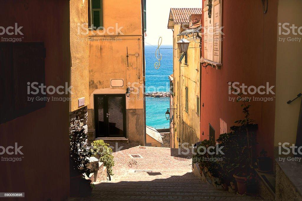Beautiful street in Italy stock photo