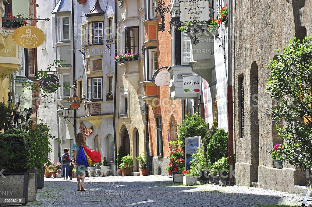 Beautiful street in Tyrol town stock photo