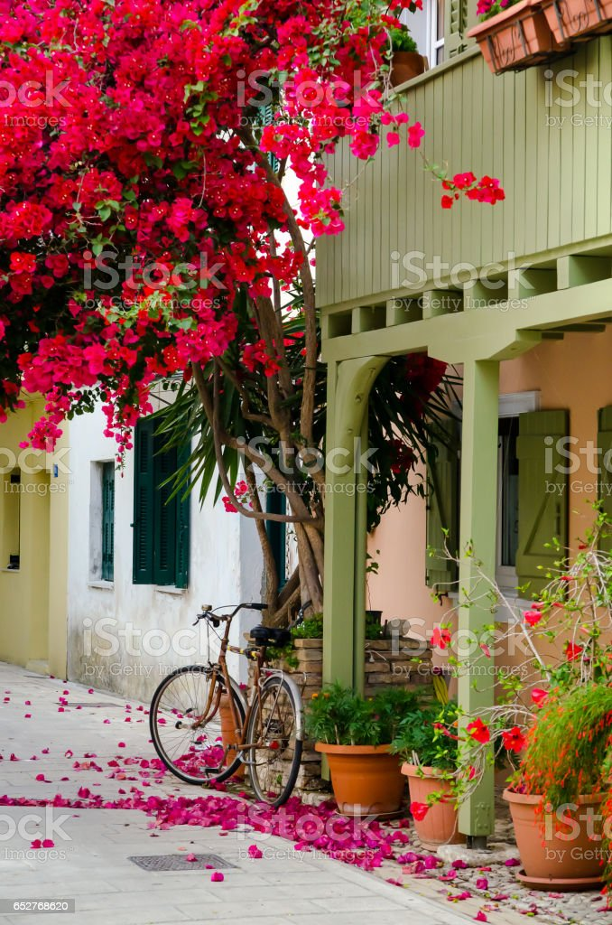 Beautiful Street of Lefkada, Greece stock photo