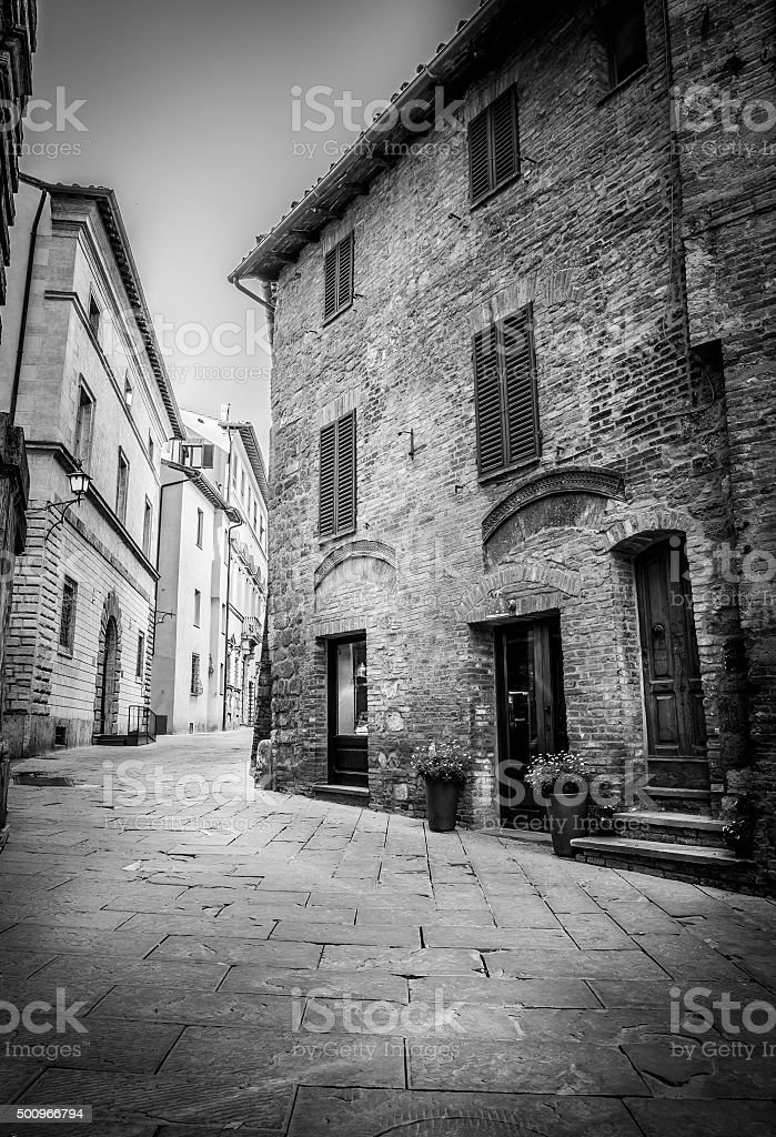 Beautiful street of Montepulciano, Tuscany stock photo