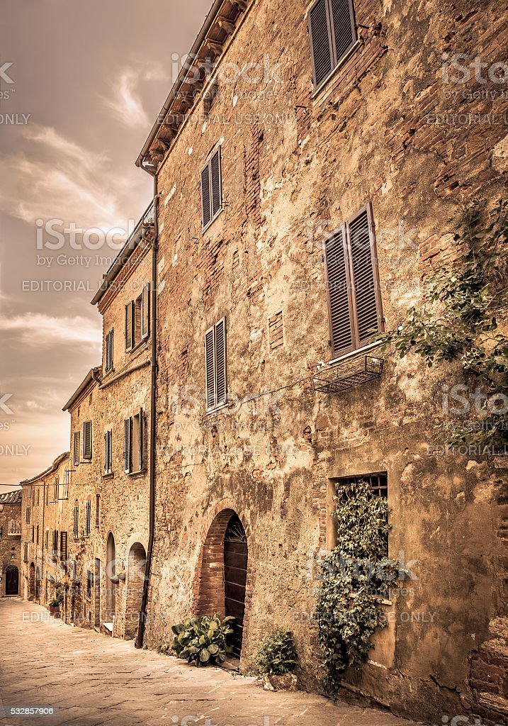Beautiful street of Montisi, Tuscany stock photo