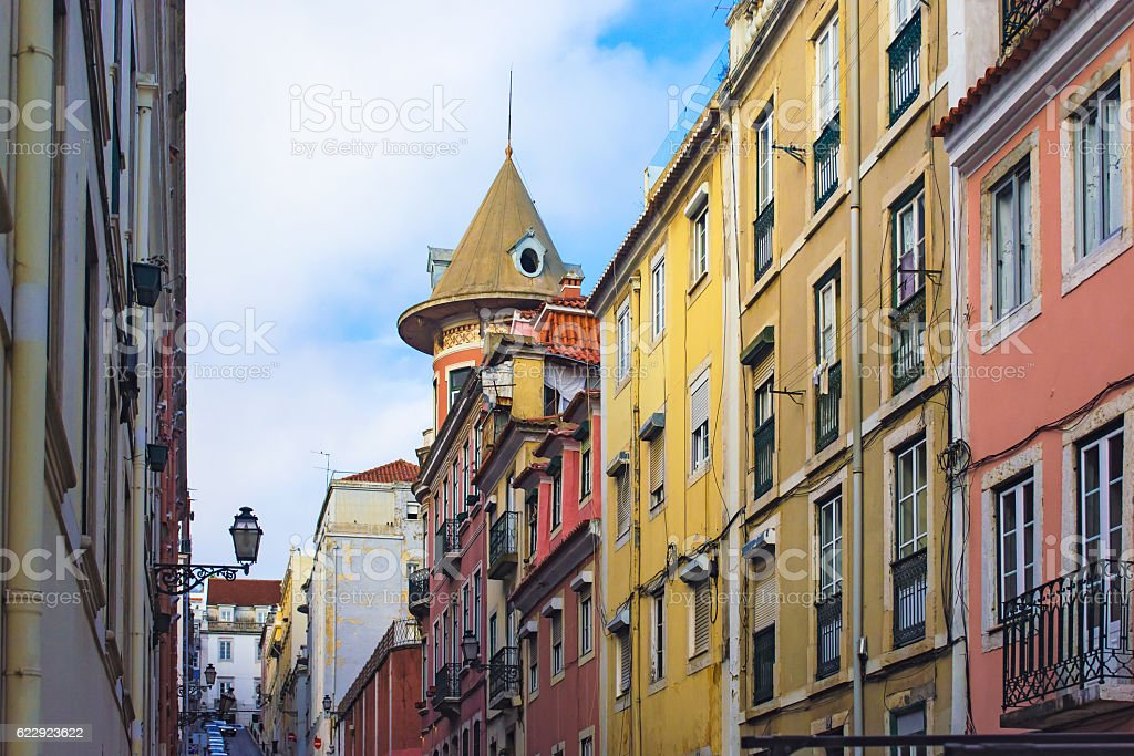 Beautiful street view of historic architectural in Lisbon, Portugal stock photo