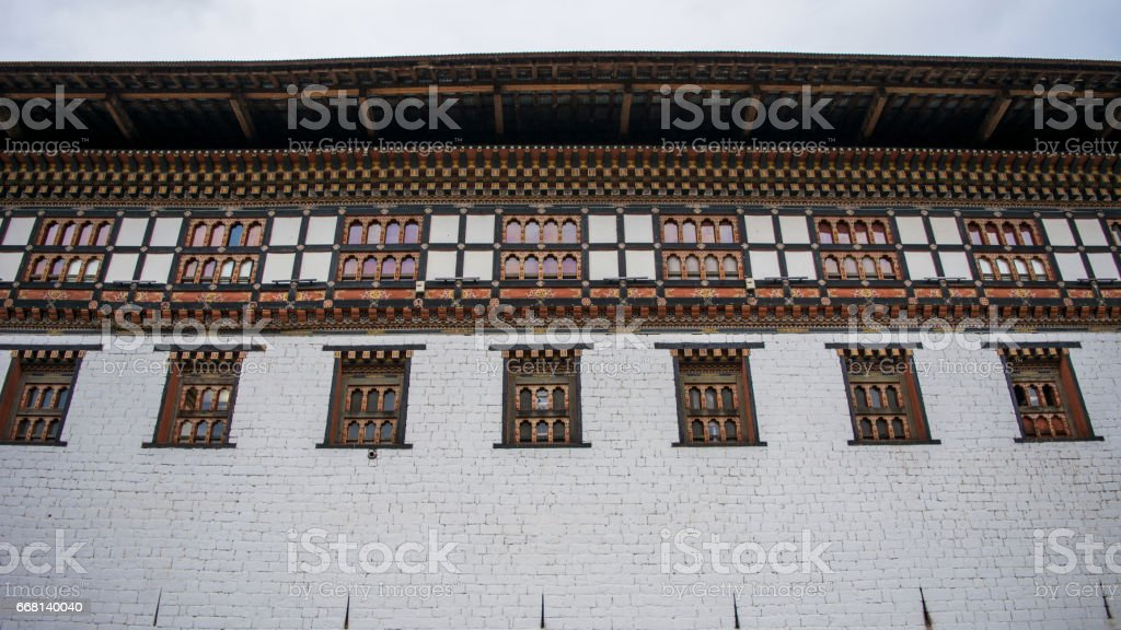 Beautiful structures and carvings of Tashichho Dzong stock photo