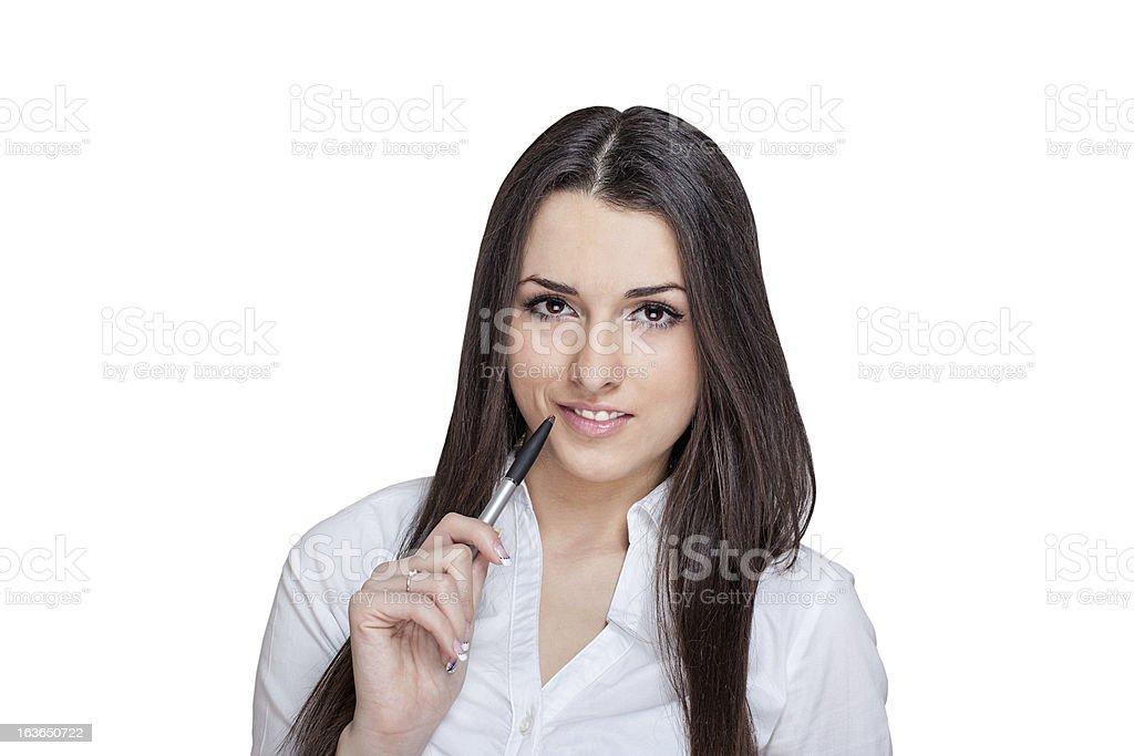 Hermosa Chica estudiante con lápiz foto de stock libre de derechos