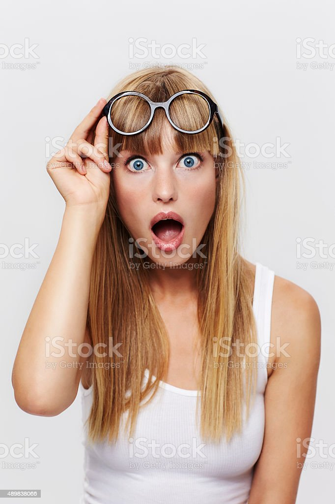 Beautiful student in shock stock photo