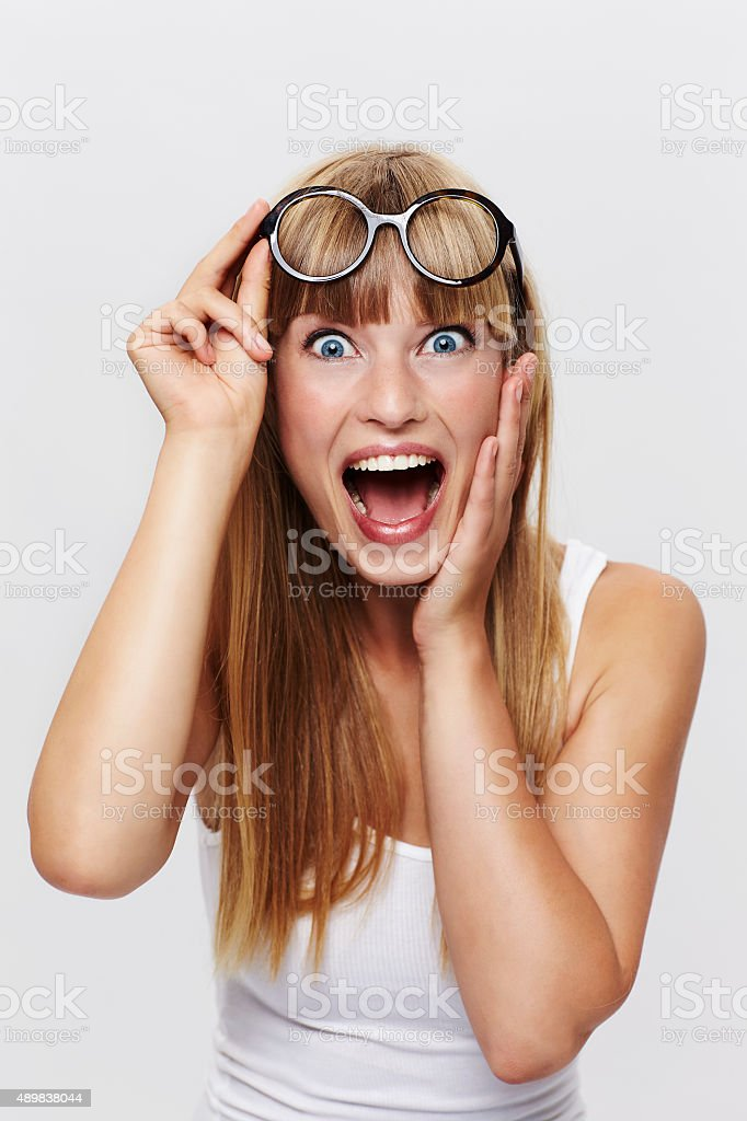 Beautiful student surprised stock photo