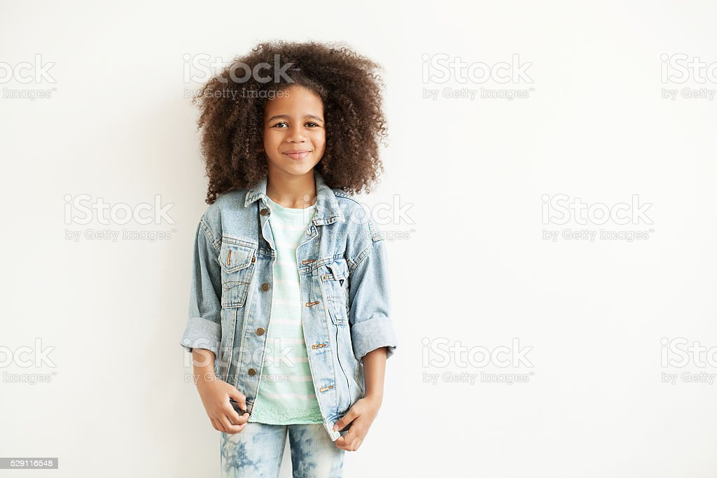 Beautiful stylish little girl stock photo