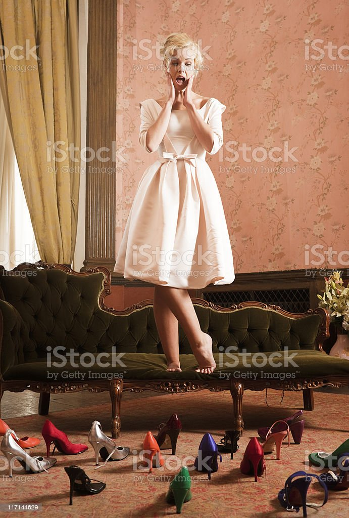 Beautiful, Stylish Woman, Shoes Attacking stock photo