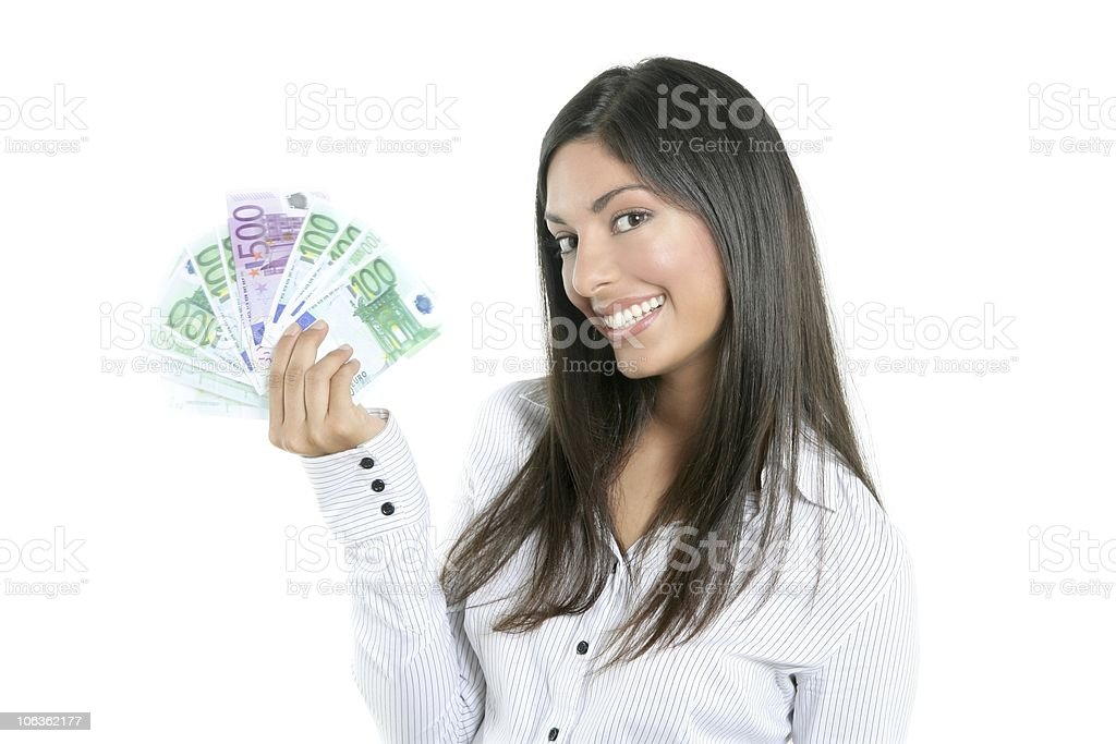 Beautiful success businesswoman holding Euro notes royalty-free stock photo