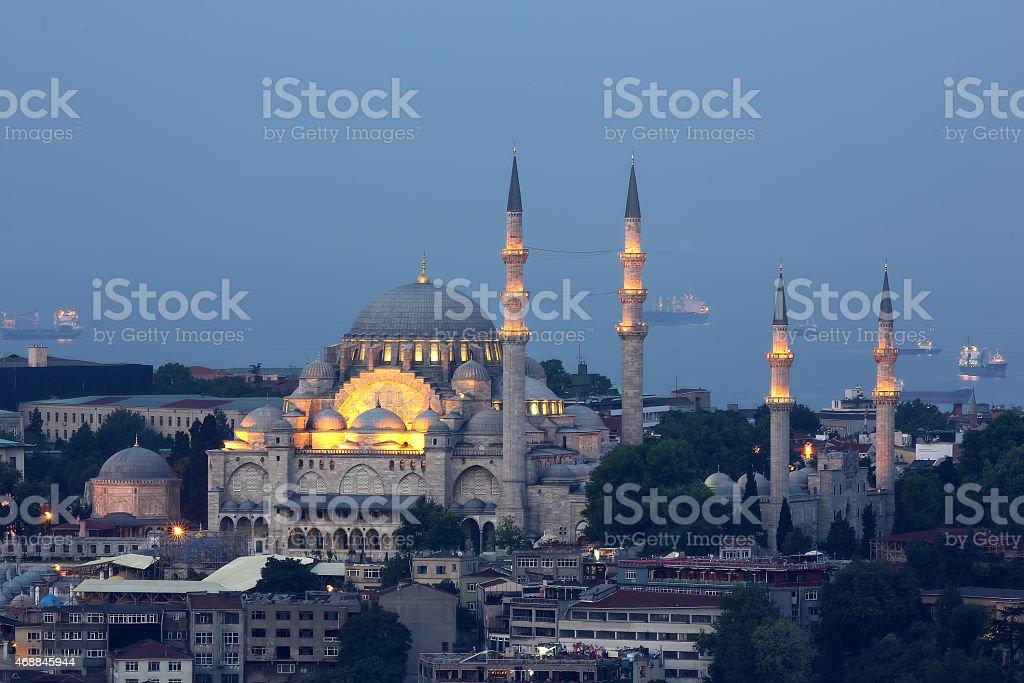Beautiful Suleymaniye Mosque at twilight stock photo
