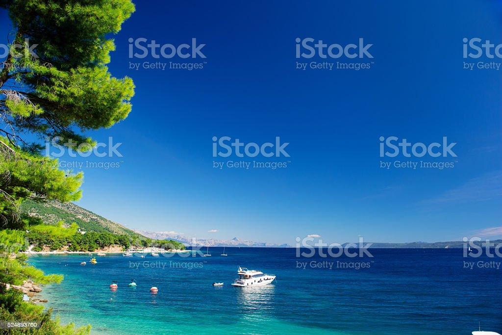 Beautiful Summer Adriatic Sea coastline view, island Brac, Croatia stock photo