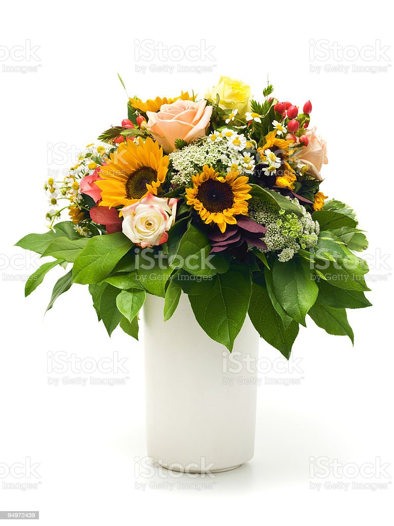 beautiful summer bouquet in white vase stock photo