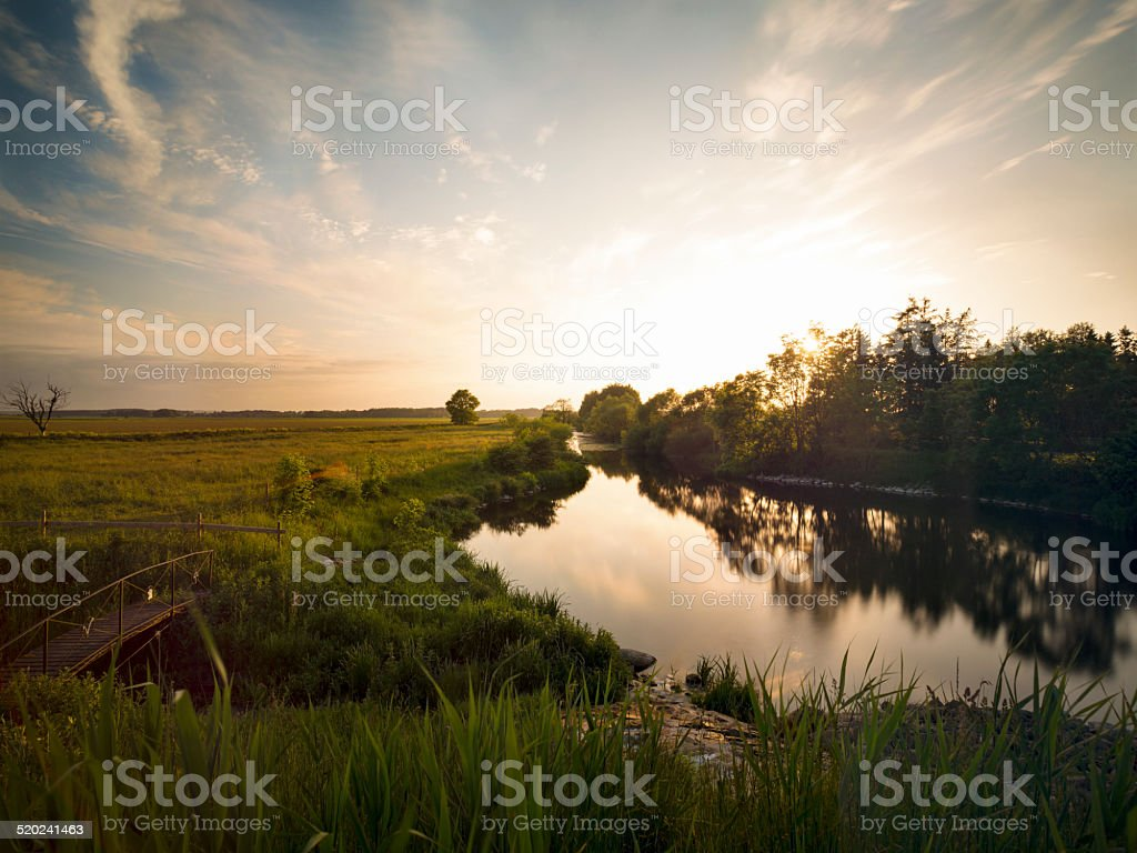 Beautiful summer evening sunset by calm river lake (XXXLarge) stock photo