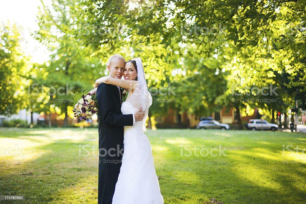 Beautiful Summer Green Outdoor Wedding Bride Groom Portrait royalty-free stock photo