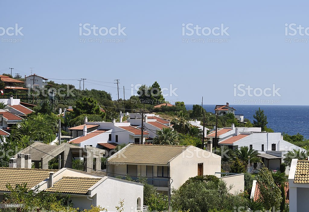 Beautiful summer holiday villas at the beach in Halkidiki, Greece stock photo