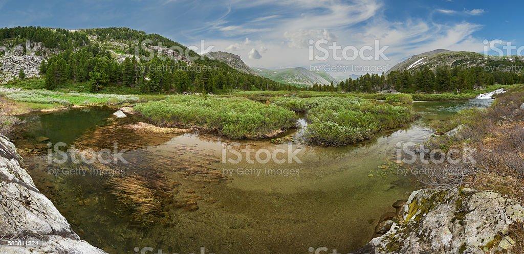 Beautiful summer landscape, Altai mountains Russia. stock photo